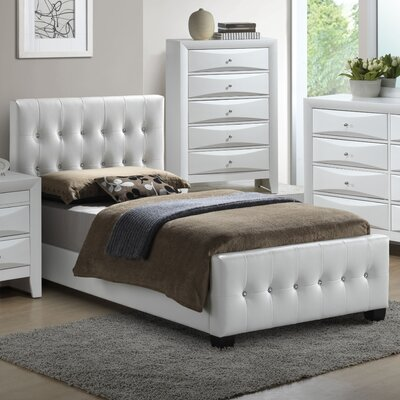 Max Upholstered Panel Bed Size: Full, Color: Black