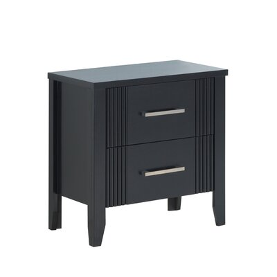 Archambault 2 Drawer Nightstand Color: Black