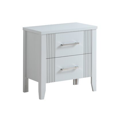Archambault 2 Drawer Nightstand Color: White