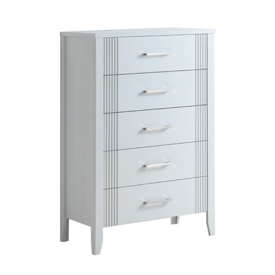 Alleen 5 Drawer Standard Chest Finish: White