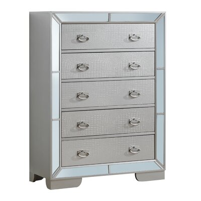 Jemma 5 Drawer Standard Chest Color: Gray