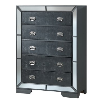 Jemma 5 Drawer Standard Chest Color: Black