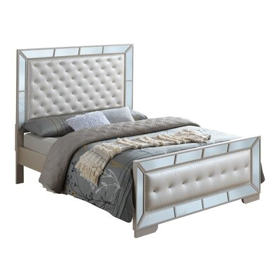 Jemma Full/Double Upholstered Panel Bed Color: Pearl, Size: Twin