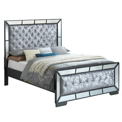 Jemma Full/Double Upholstered Panel Bed Color: Black, Size: King