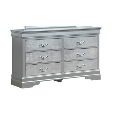Derrick 6 Drawer Double Dresser Color: Silver Champagne