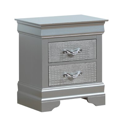 Paignton 2 Drawer Nightstand Color: Silver Champagne