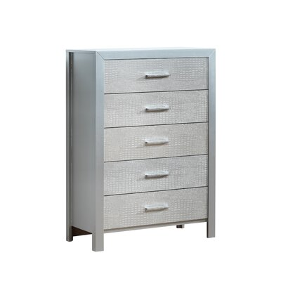 Raye 5 Drawer Chest Color: Silver Champagne