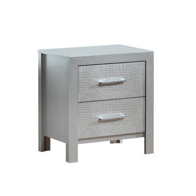 Raye 2 Drawer Nightstand Color: Silver Champagne