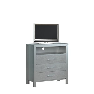 Raye TV Media 3 Drawer Chest Color: Silver Champagne