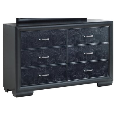 Aguilera 6 Drawer Double Dresser Color: Charcoal