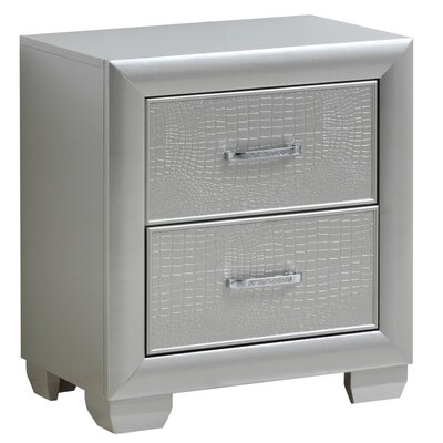Aguilera 2 Drawer Nightstand Finish: Silver Champagne