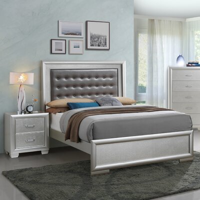 Aguilera Foam Upholstered Panel Bed Size: King, Color: Silver Champagne