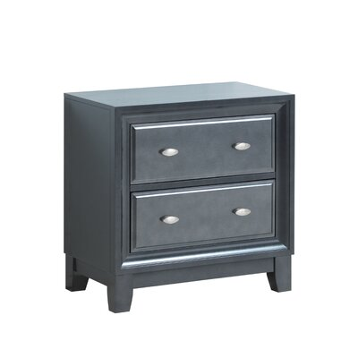 Aguilera 2 Drawer Nightstand Color: Charcoal