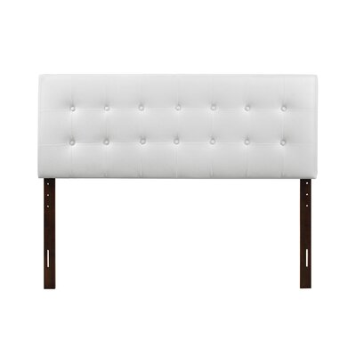 Albertina Upholstered Panel Headboard Size: Full, Upholstery: White