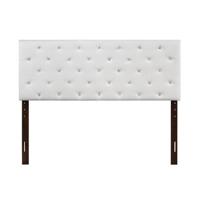Albertine Upholstered Panel Headboard Size: King, Upholstery: White