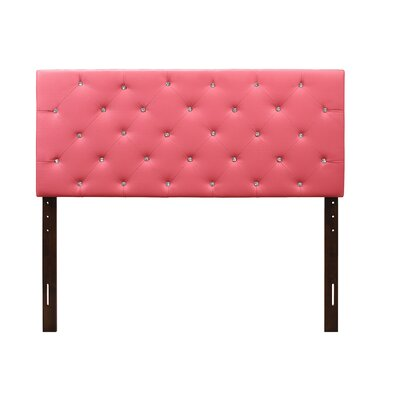 Albertine Upholstered Panel Headboard Size: Twin, Upholstery: Pink
