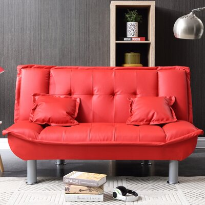Hollymead Sleeper Convertible Loveseat Upholstery: Red