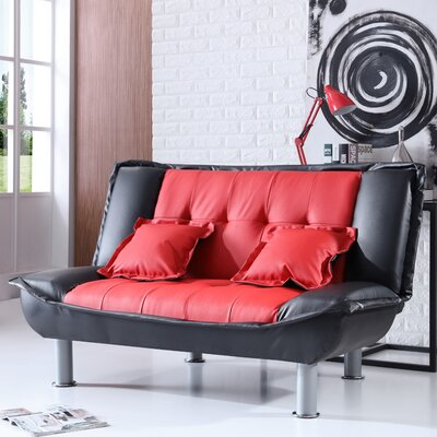 Hollymead Sleeper Convertible Loveseat Upholstery: Red/Black