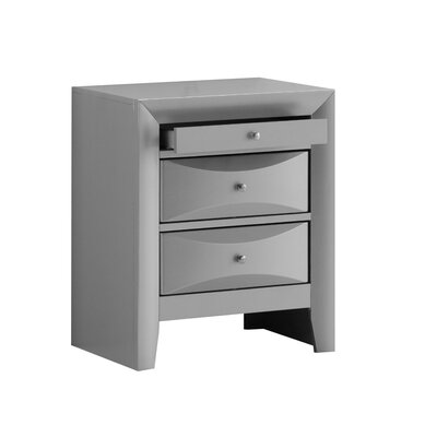 Medford 3 Drawer Nightstand Color: Silver