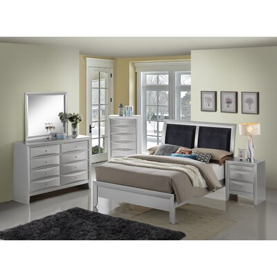 Medford Upholstered Panel Bed Size: Queen, Color: Silver