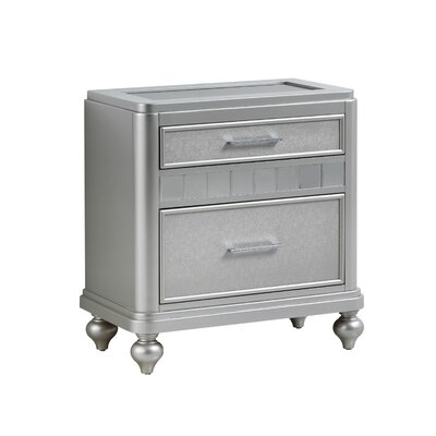 Adhafera 2 Drawer Nightstand Color: Silver Champagne