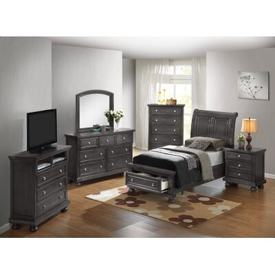 Jenna Storage Sleigh Bed Size: King, Color: Gray