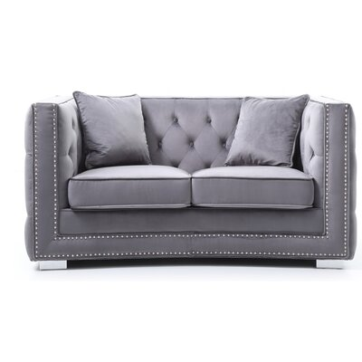 Smollin Chesterfield Loveseat Upholstery: Gray