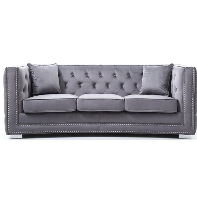 Smollin Chesterfield Sofa Upholstery: Gray