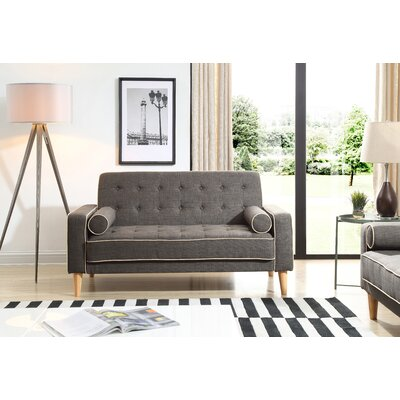 Shayne Convertible Loveseat Upholstery: Dark Gray