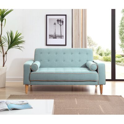 Shayne Convertible Loveseat Upholstery: Light Blue