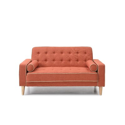 Shayne Convertible Loveseat Upholstery: Orange