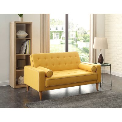 Shayne Convertible Loveseat Upholstery: Yellow
