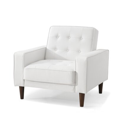 Shayne Convertible Chair Upholstery: White