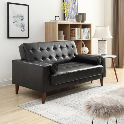 Shayne Convertible Loveseat Upholstery: Black
