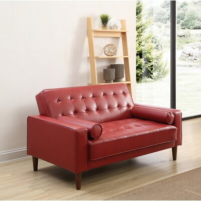 Shayne Convertible Loveseat Upholstery: Red
