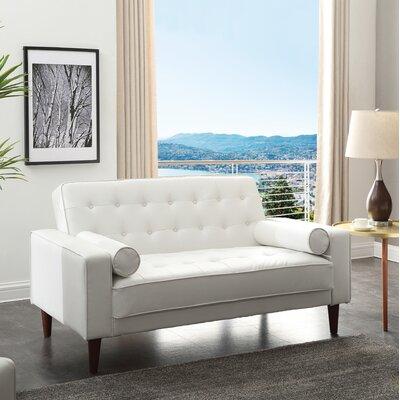 Shayne Convertible Loveseat Upholstery: White
