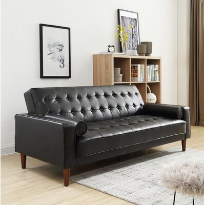 Shayne Convertible Sofa Upholstery: Black