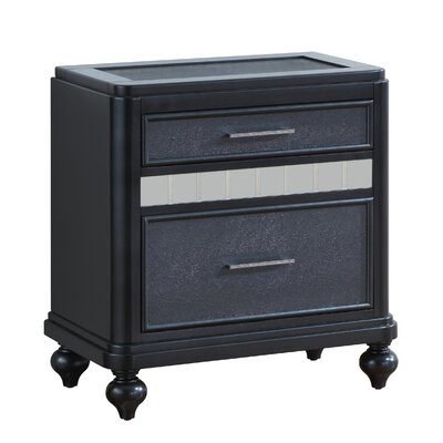Adhafera 2 Drawer Nightstand Color: Charcoal