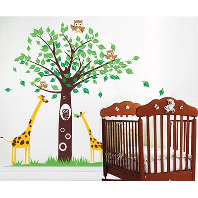 Pop Decors Big Tree with Cute Giraffe Wall Decal PT-0075