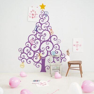 Christmas Tree with Colorful Bulbs Wall Decal Color: Lilac