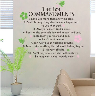 The Ten Commandents Wall Decal Color: Lime/Pink