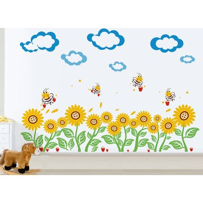 Sunflowers and Bees Wall Decal PT-0104-Va