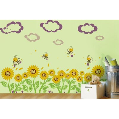 Sunflowers and Bees Wall Decal PT-0104-Vb