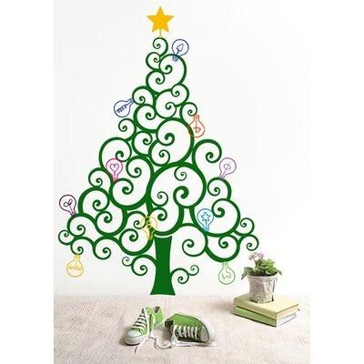 Christmas Tree with Colorful Bulbs Wall Decal Color: Dark Green