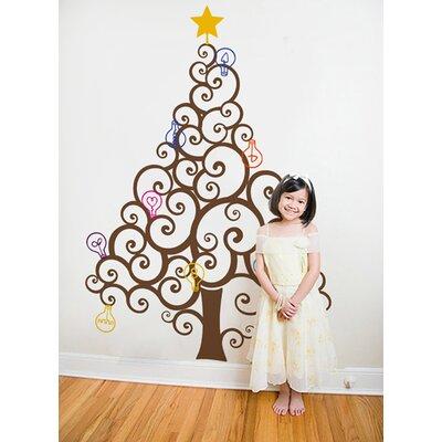 Christmas Tree with Colorful Bulbs Wall Decal Color: Brown
