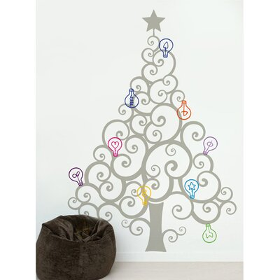 Christmas Tree with Colorful Bulbs Wall Decal Color: Grey