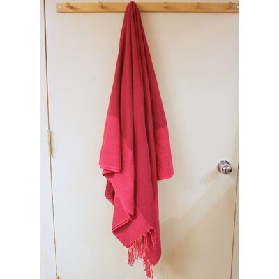 Kristalle Fringed Cotton Throw Color: Burgundy