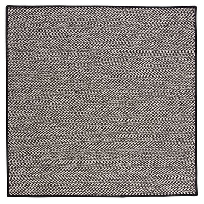 Outdoor Houndstooth Tweed Black Rug Rug Size: Square 4