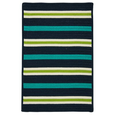 Painter Stripe Navy Waves Indoor/Outdoor Area Rug Rug Size: 5' x 7'