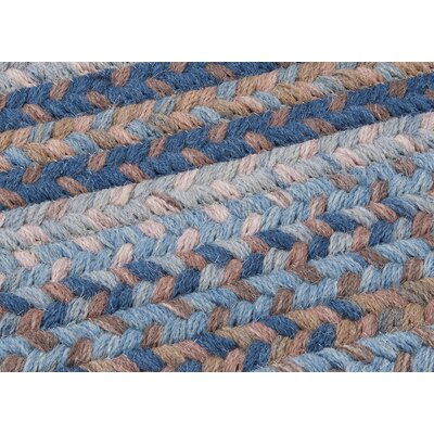 Oak Harbour Laguna Braided Wool Blue/Brown Area Rug Rug Size: Oval 10 x 13